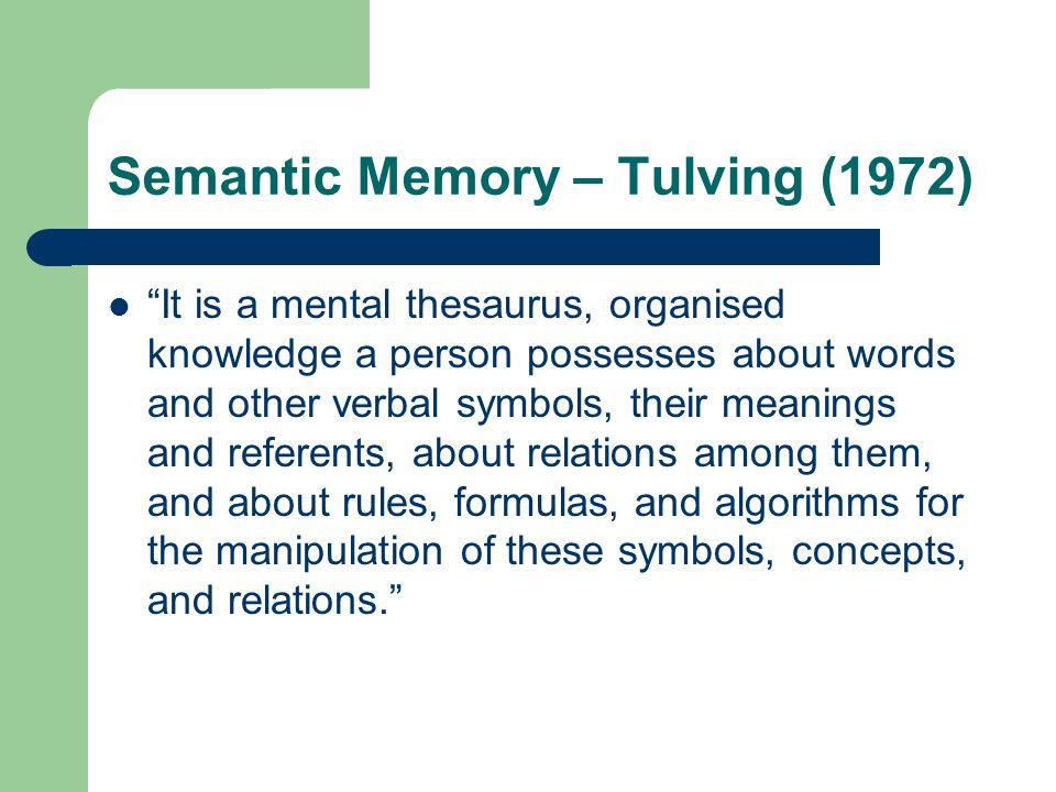Semantic Memory – Tulving (1972)