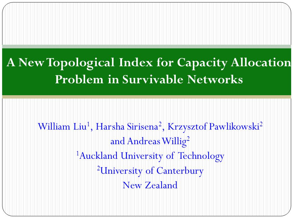 A New Topological Index for Capacity Allocation Problem in Survivable Networks