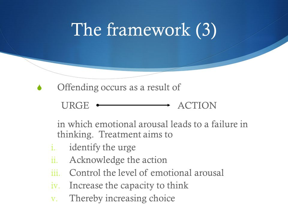 The framework (3) Offending occurs as a result of URGE ACTION