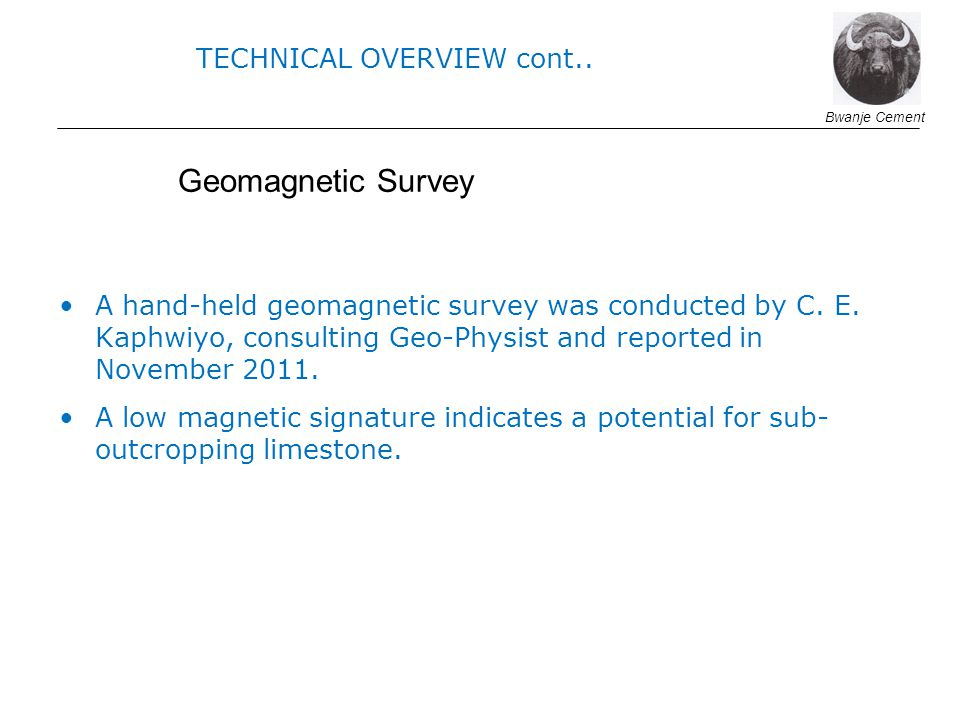 Geomagnetic Survey TECHNICAL OVERVIEW cont..