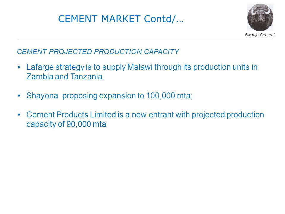 CEMENT MARKET Contd/… Bwanje Cement. CEMENT PROJECTED PRODUCTION CAPACITY.