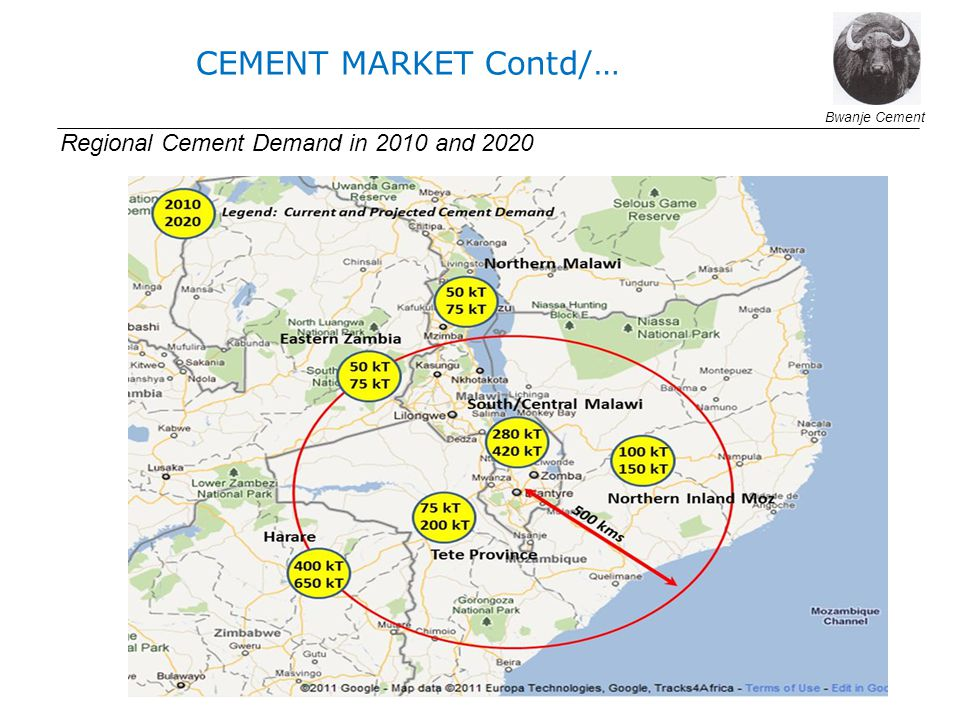 CEMENT MARKET Contd/… Regional Cement Demand in 2010 and 2020