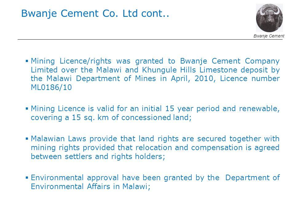 Bwanje Cement Co. Ltd cont..