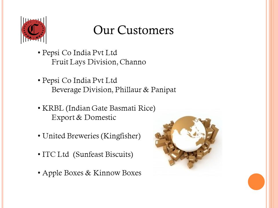 Our Customers Pepsi Co India Pvt Ltd Fruit Lays Division, Channo