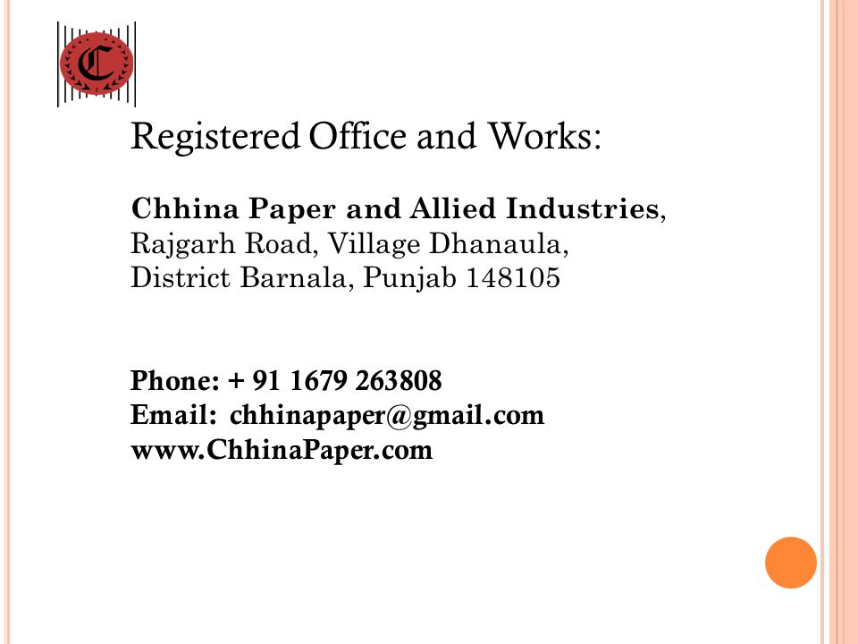 Registered Office and Works: