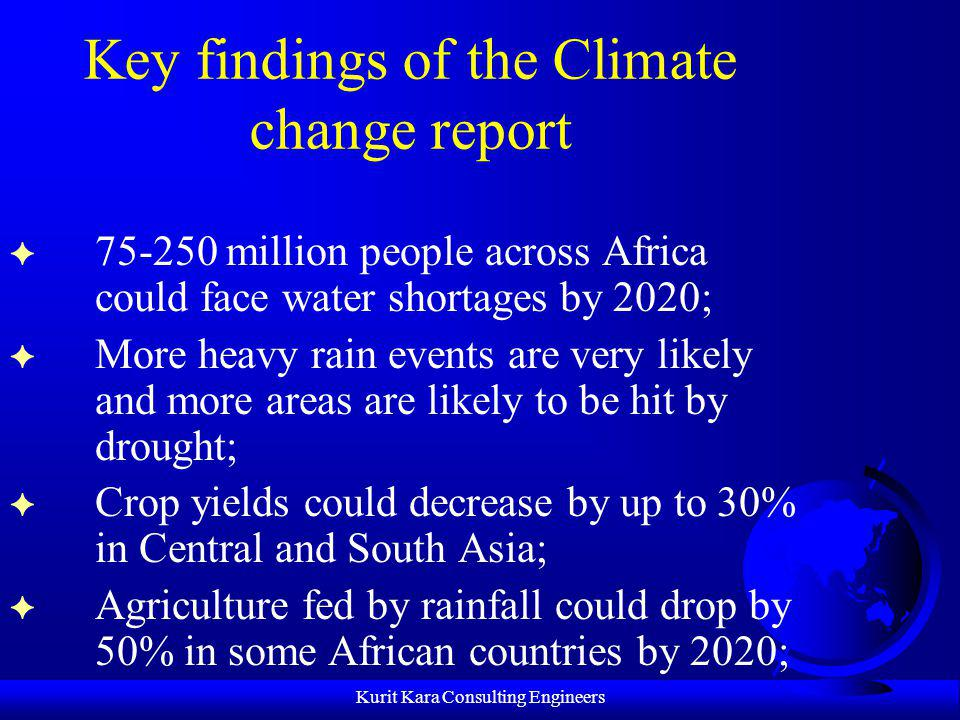 Key findings of the Climate change report
