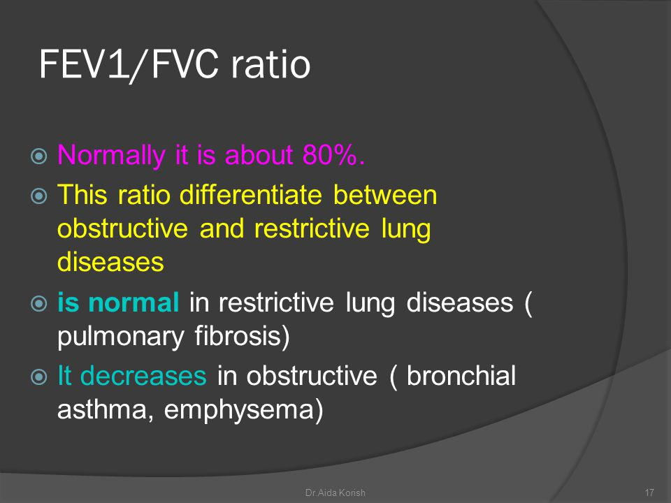 FEV1/FVC ratio Normally it is about 80%.