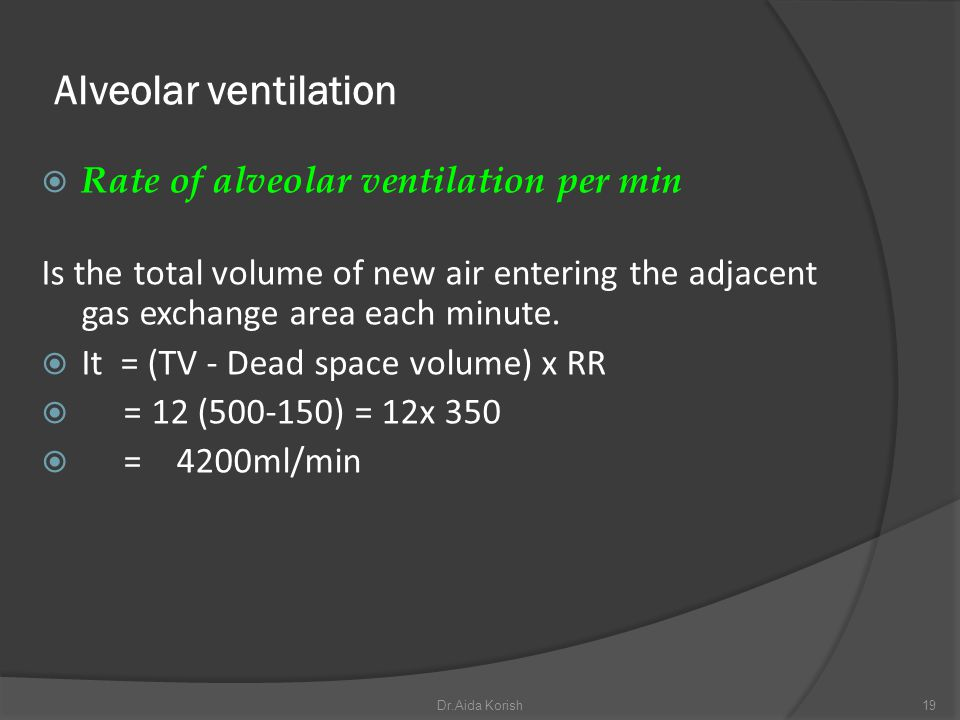 Alveolar ventilation Rate of alveolar ventilation per min