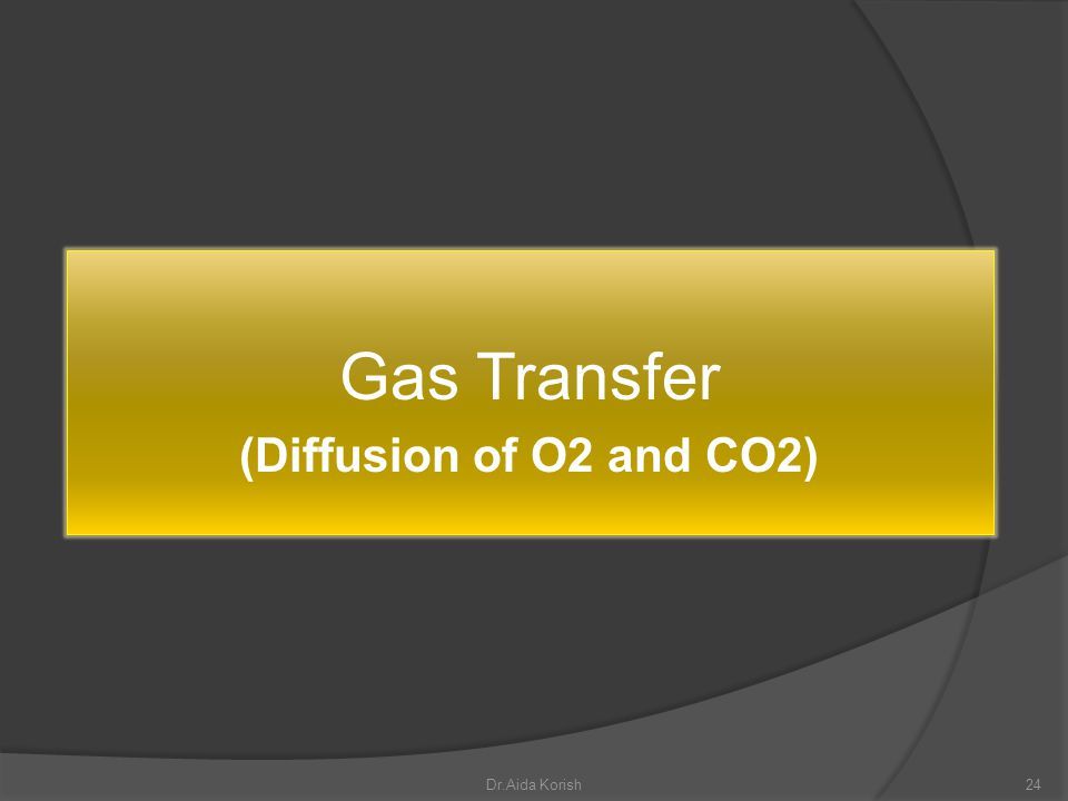 Gas Transfer (Diffusion of O2 and CO2) Dr.Aida Korish