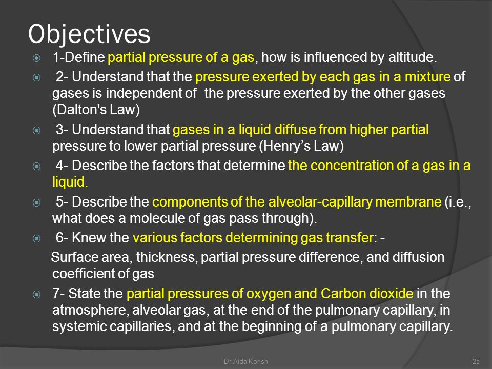 Objectives 1-Define partial pressure of a gas, how is influenced by altitude.