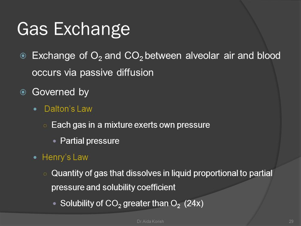Gas Exchange Exchange of O2 and CO2 between alveolar air and blood occurs via passive diffusion. Governed by.