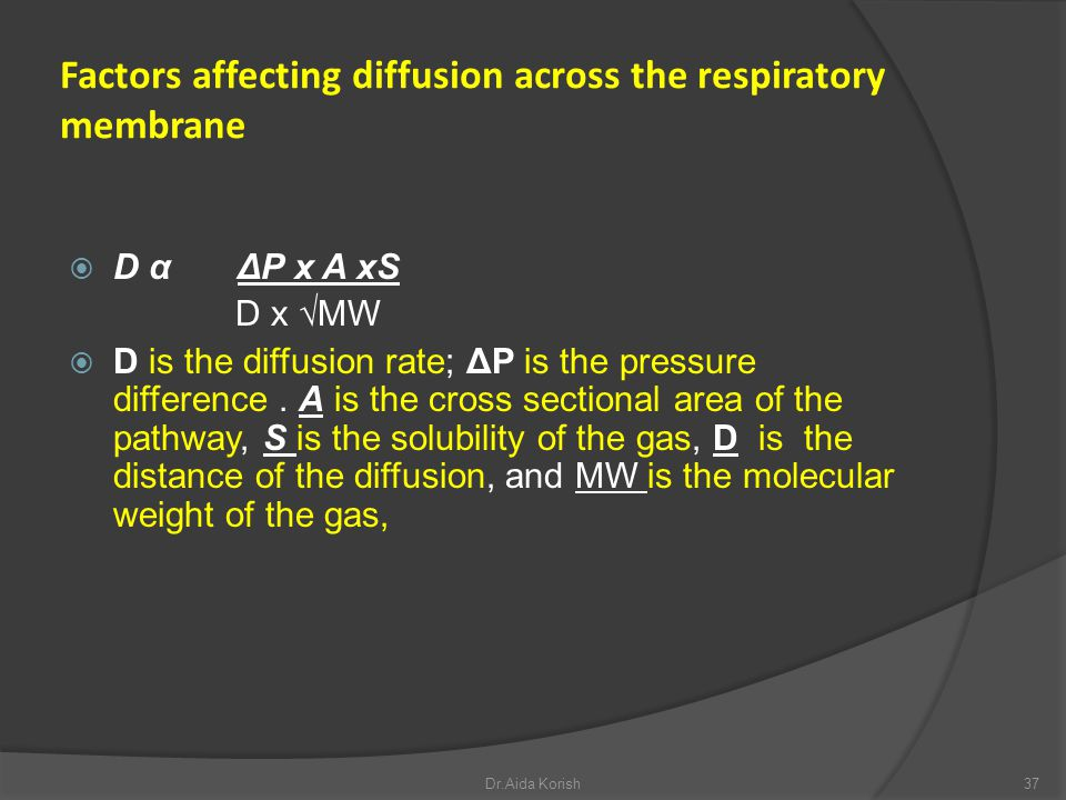 Factors affecting diffusion across the respiratory membrane