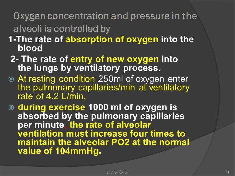 Oxygen concentration and pressure in the alveoli is controlled by