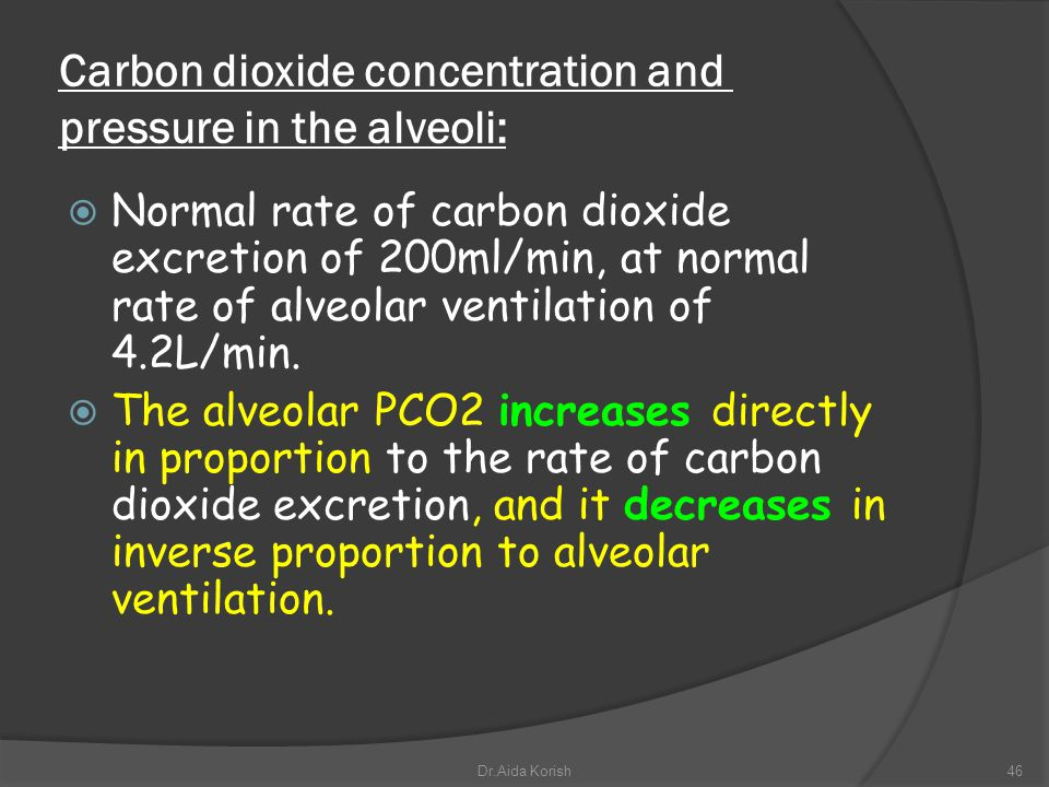 Carbon dioxide concentration and pressure in the alveoli: