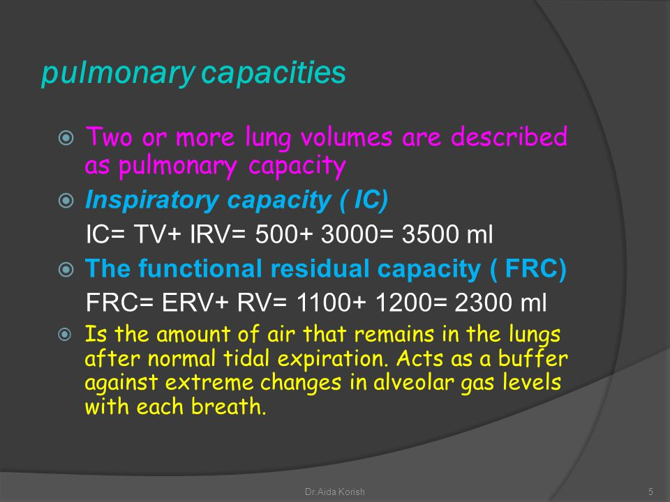 pulmonary capacities Two or more lung volumes are described as pulmonary capacity. Inspiratory capacity ( IC)