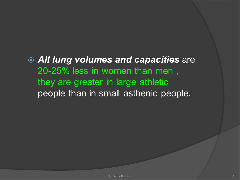 All lung volumes and capacities are 20-25% less in women than men , they are greater in large athletic people than in small asthenic people.
