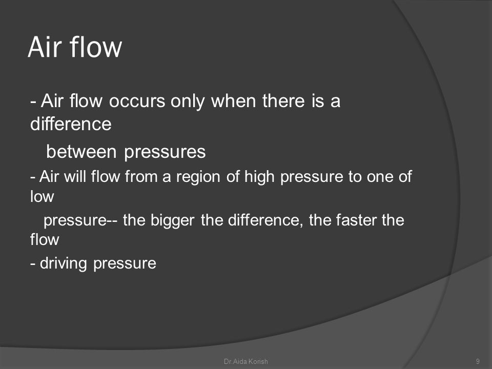 Air flow - Air flow occurs only when there is a difference