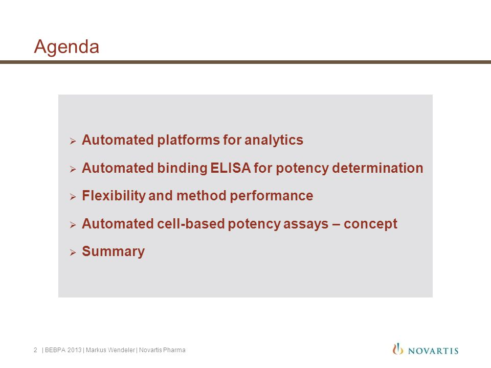 Agenda Automated platforms for analytics