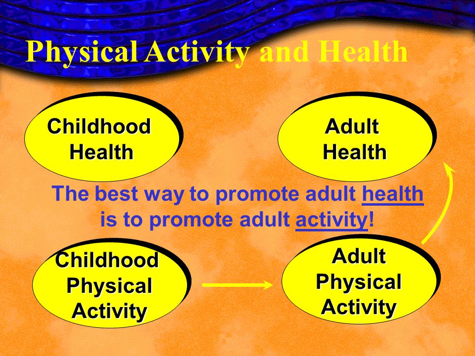 The best way to promote adult health is to promote adult activity!
