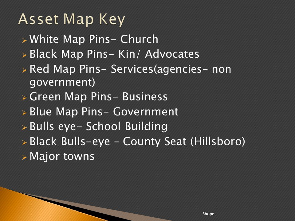 Asset Map Key White Map Pins- Church Black Map Pins- Kin/ Advocates