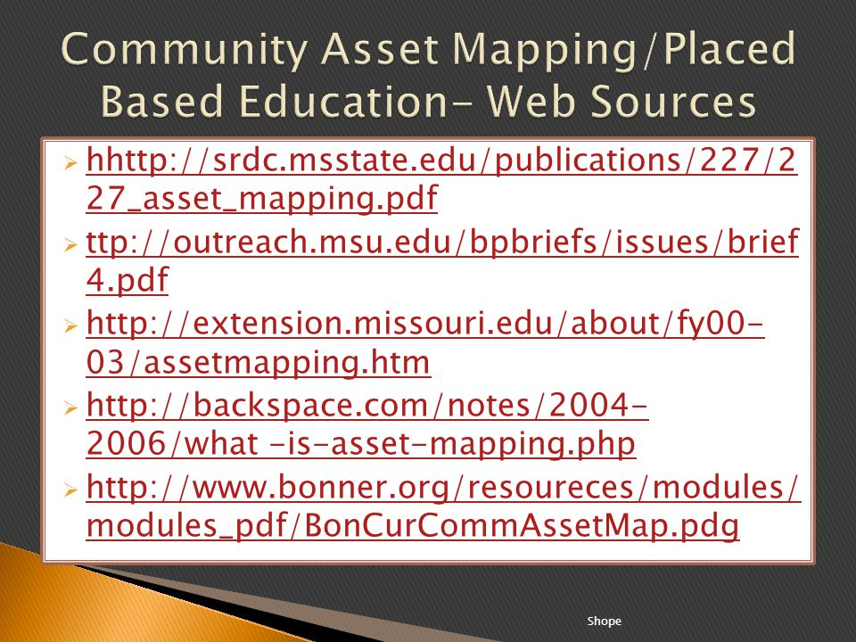 Community Asset Mapping/Placed Based Education- Web Sources