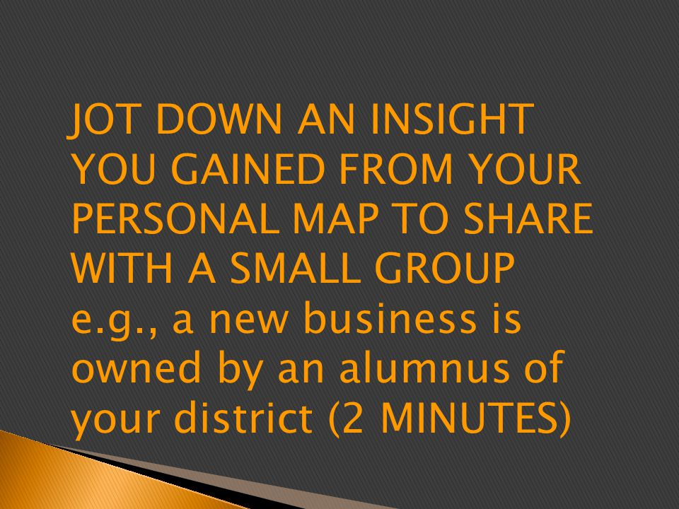 JOT DOWN AN INSIGHT YOU GAINED FROM YOUR PERSONAL MAP TO SHARE WITH A SMALL GROUP e.g., a new business is owned by an alumnus of your district (2 MINUTES)