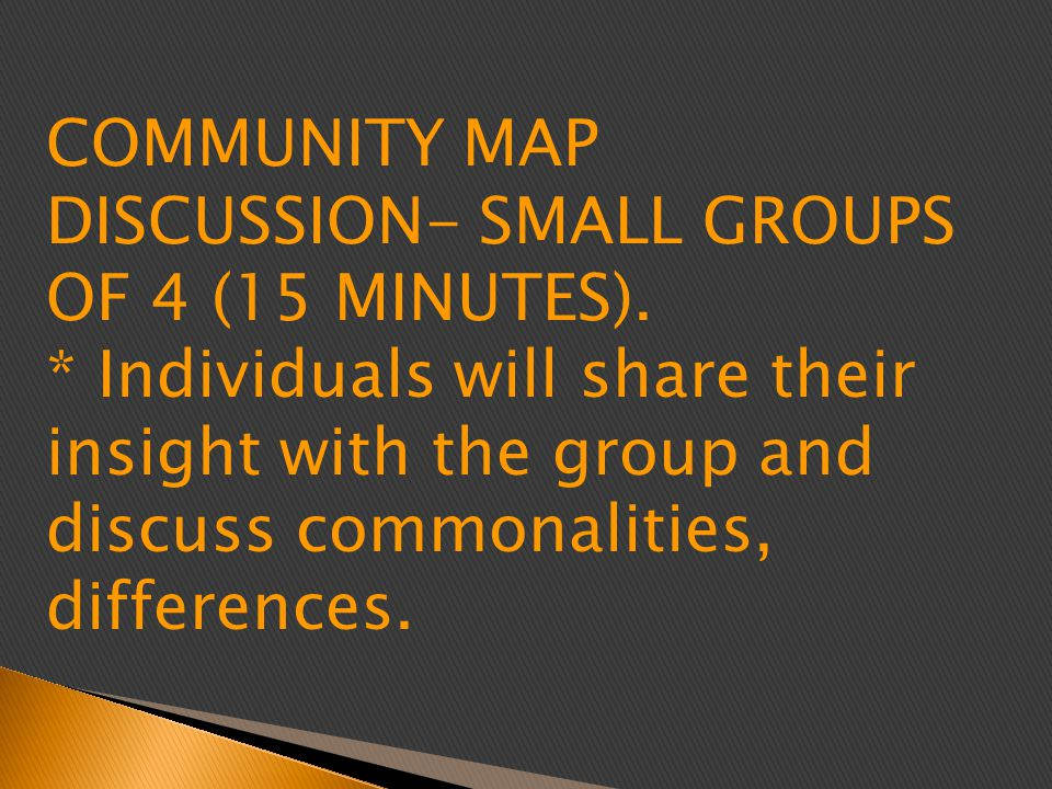 COMMUNITY MAP DISCUSSION- SMALL GROUPS OF 4 (15 MINUTES).