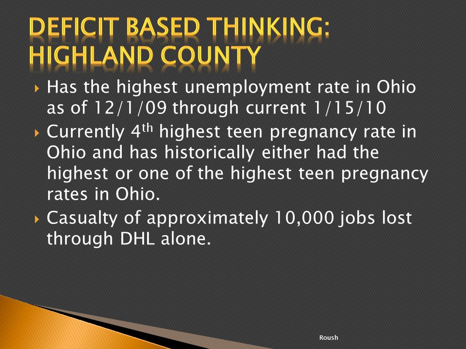 Deficit based thinking: Highland County