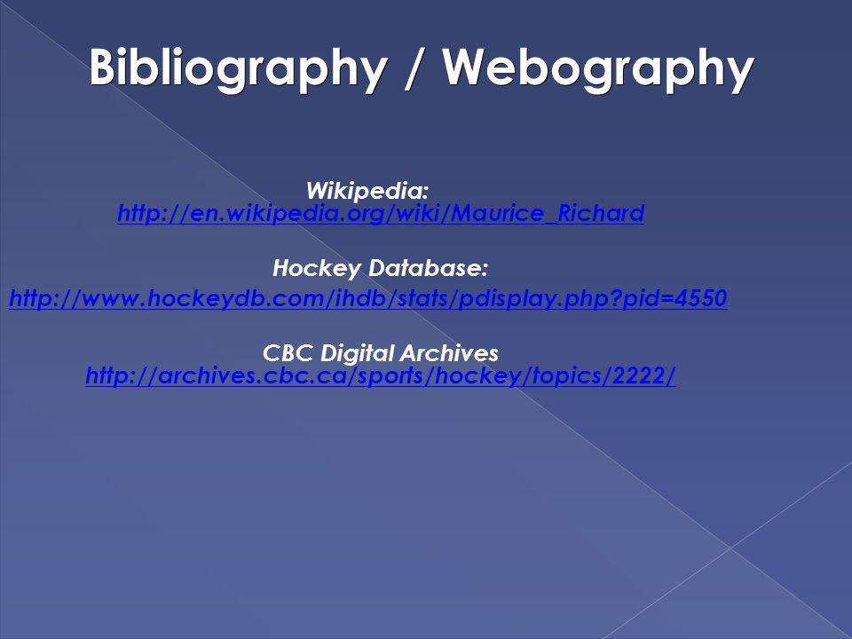 Bibliography / Webography