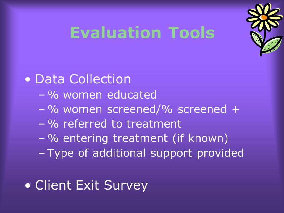 Evaluation Tools Data Collection Client Exit Survey % women educated
