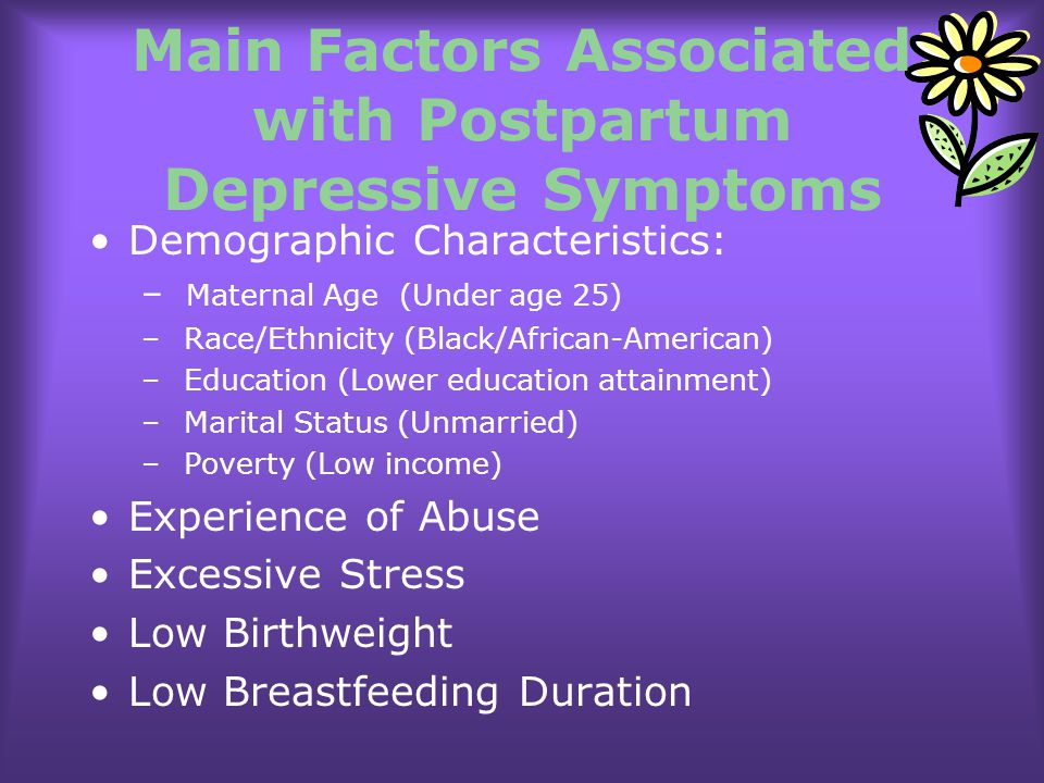 Main Factors Associated with Postpartum Depressive Symptoms