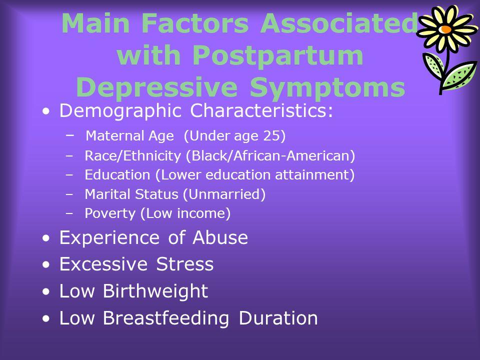 Main Factors Associated with Postpartum Depressive Symptoms
