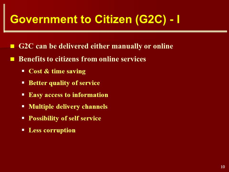Government to Citizen (G2C) - I