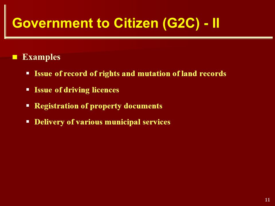 Government to Citizen (G2C) - II