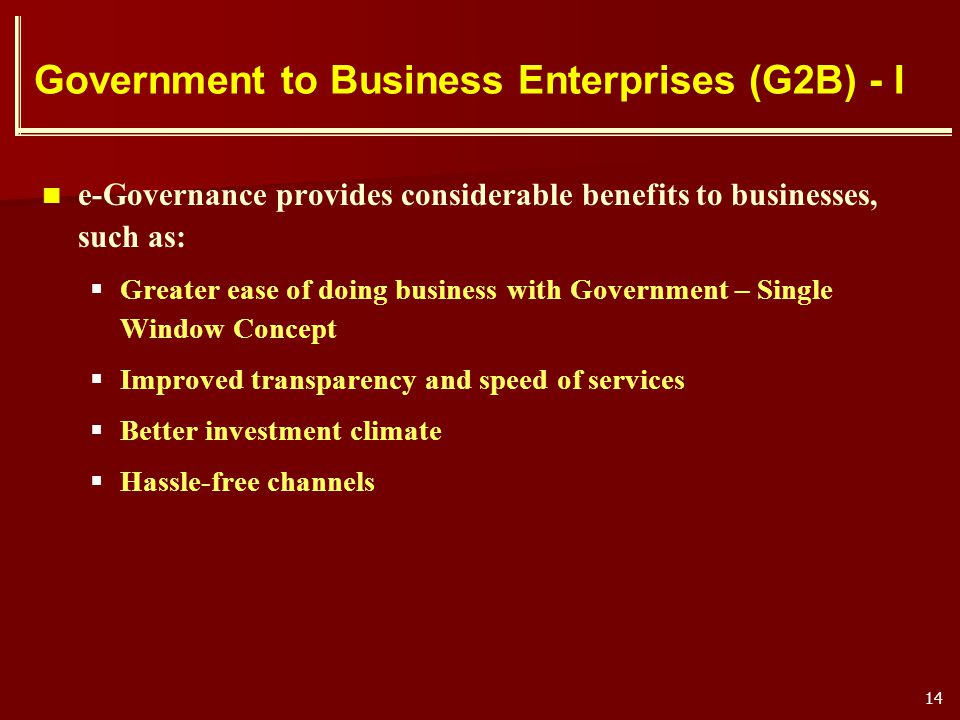 Government to Business Enterprises (G2B) - I