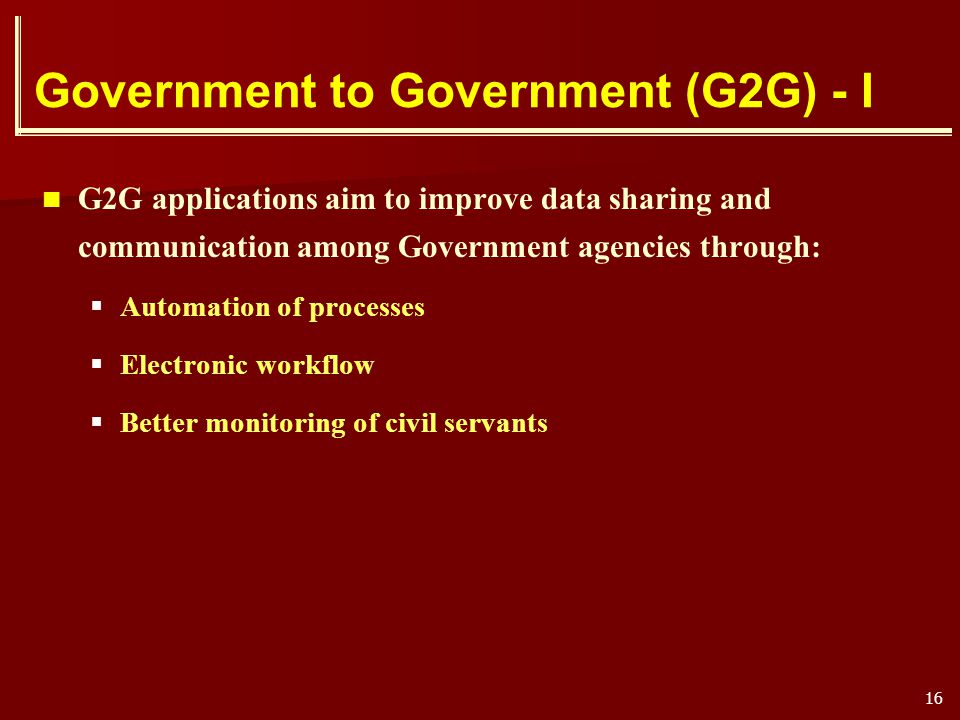 Government to Government (G2G) - I