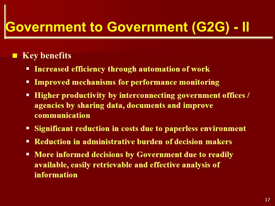 Government to Government (G2G) - II