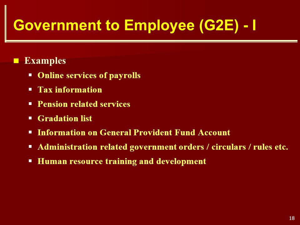 Government to Employee (G2E) - I