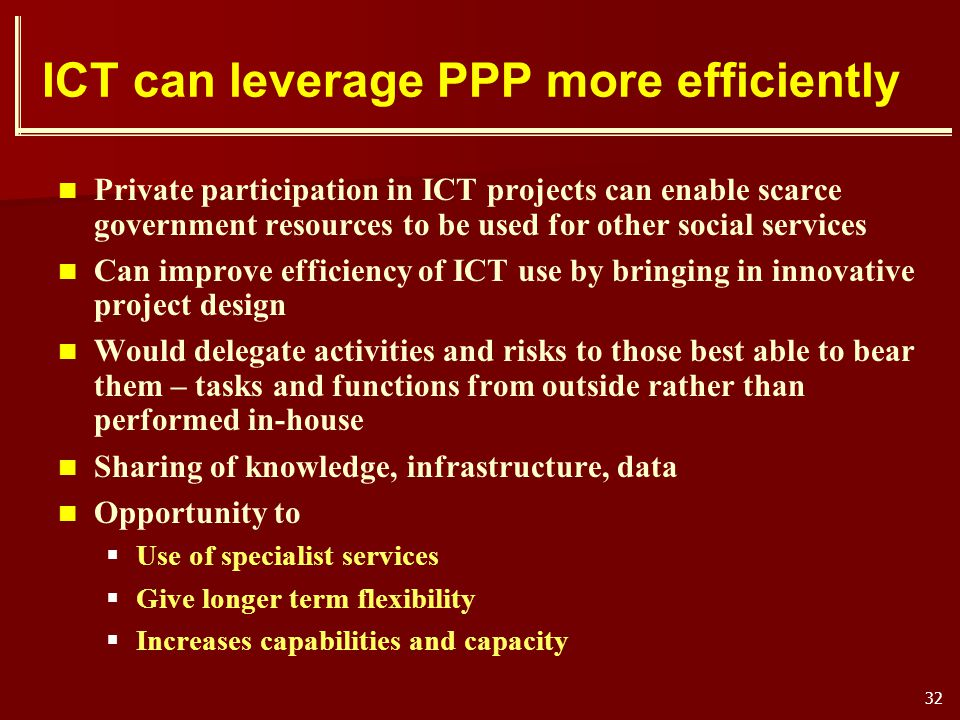 ICT can leverage PPP more efficiently