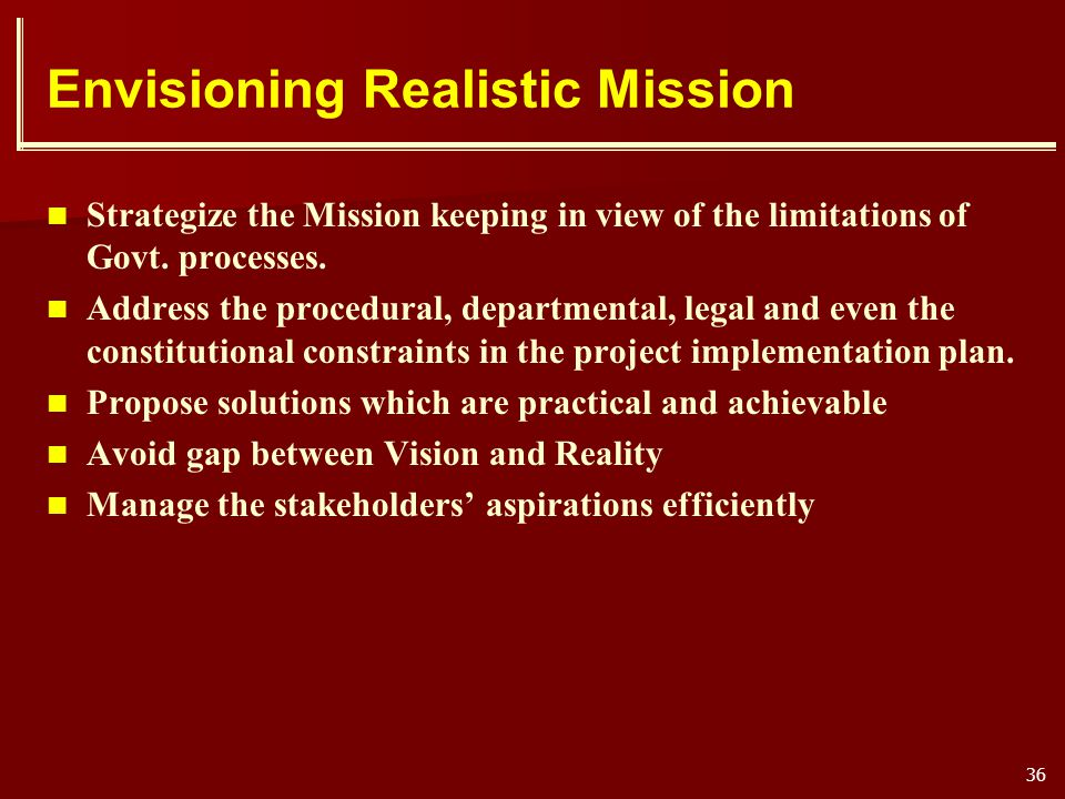 Envisioning Realistic Mission