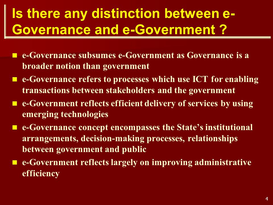 Is there any distinction between e-Governance and e-Government