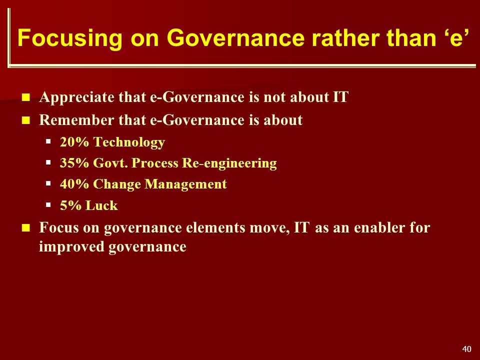 Focusing on Governance rather than 'e'