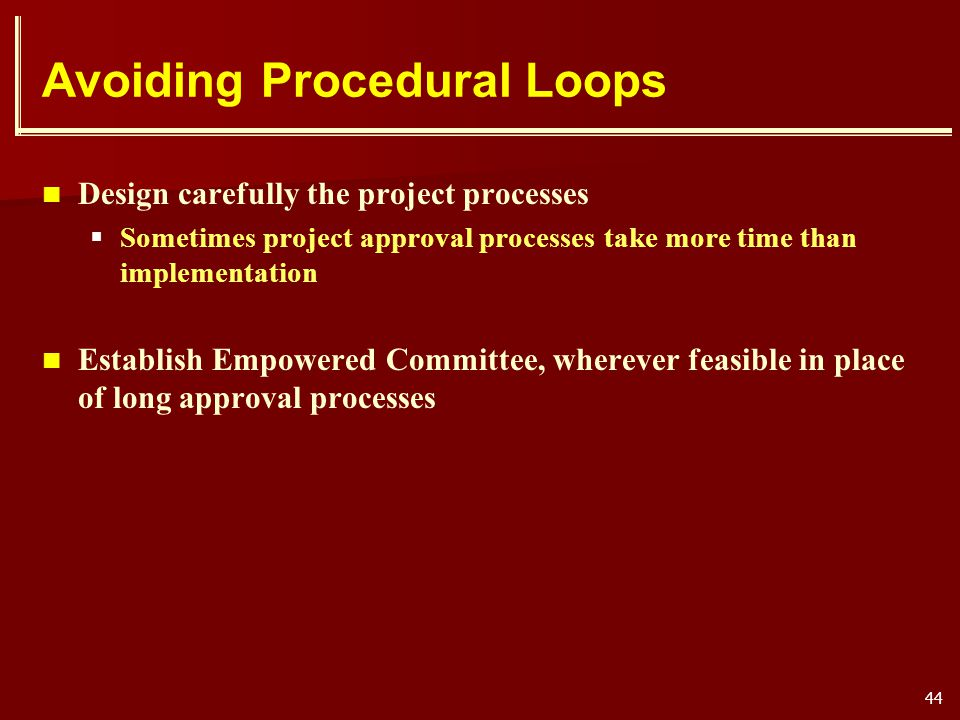 Avoiding Procedural Loops