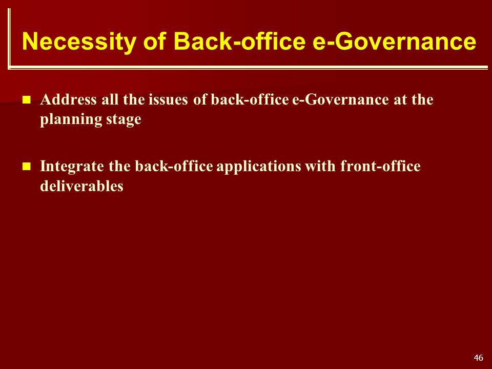 Necessity of Back-office e-Governance