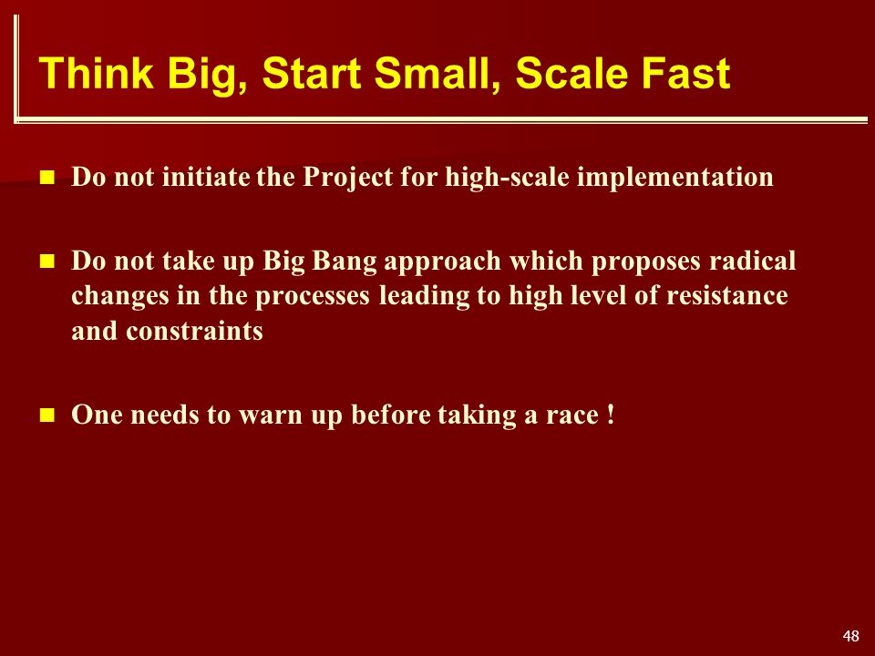 Think Big, Start Small, Scale Fast