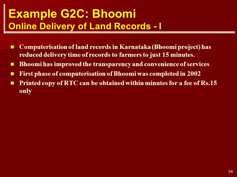 Example G2C: Bhoomi Online Delivery of Land Records - I