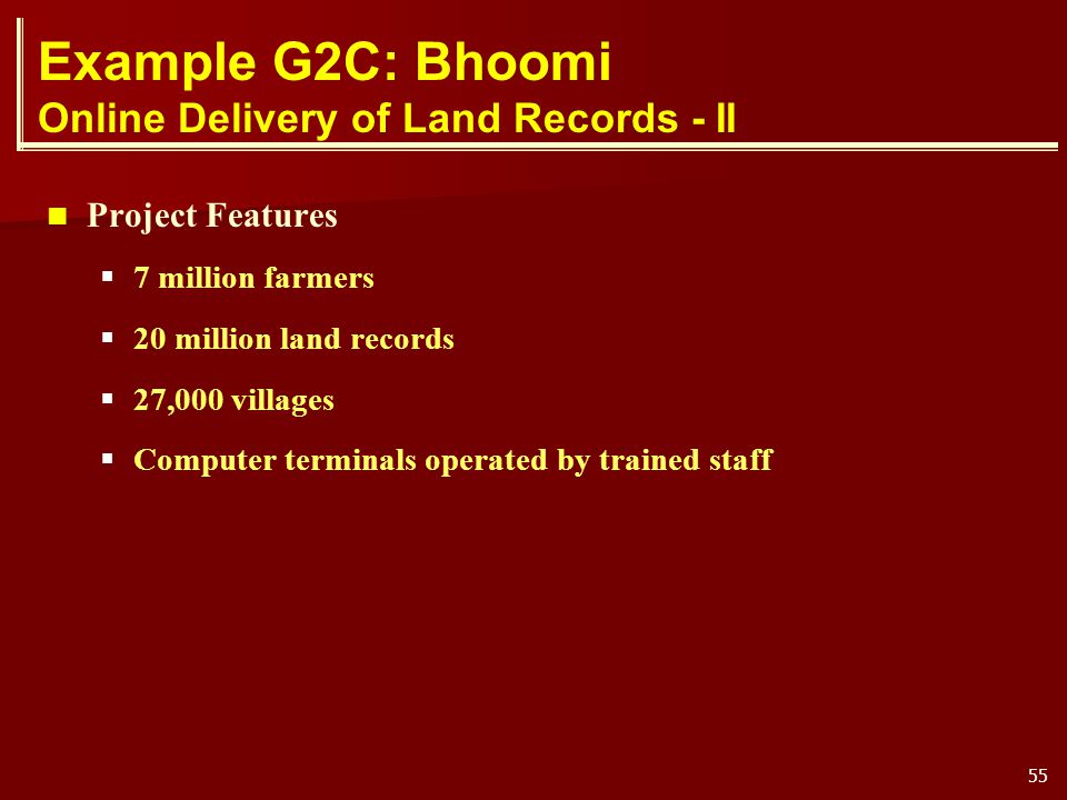 Example G2C: Bhoomi Online Delivery of Land Records - II