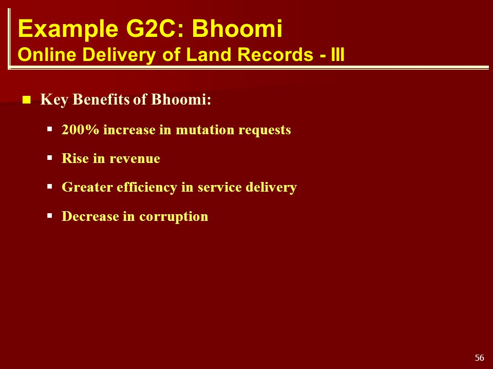 Example G2C: Bhoomi Online Delivery of Land Records - III