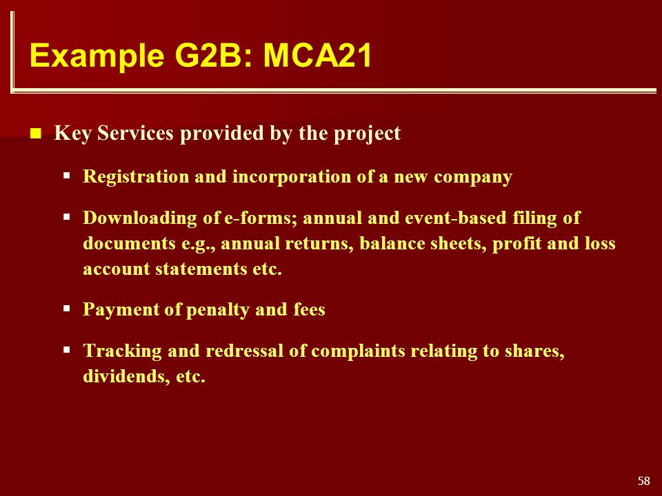 Example G2B: MCA21 Key Services provided by the project