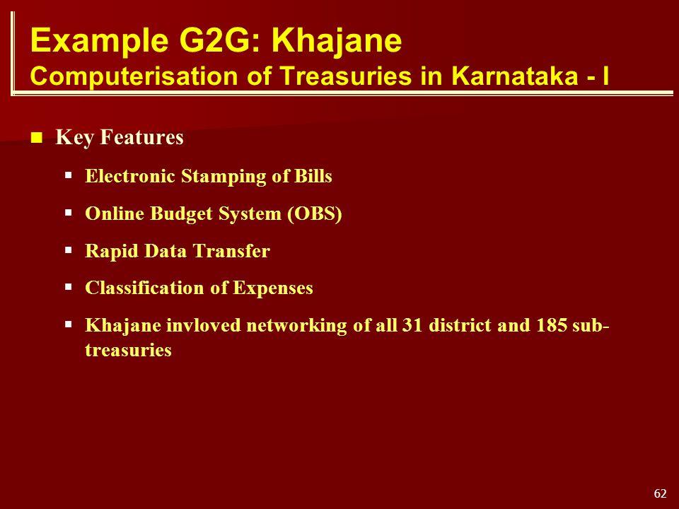 Example G2G: Khajane Computerisation of Treasuries in Karnataka - I